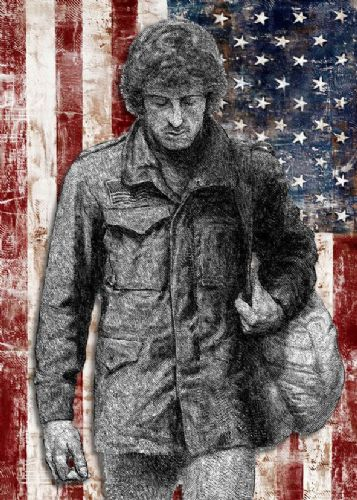 1980's Movie - FIRST BLOOD - RAMBO SKETCH USA FLAG canvas print - self adhesive poster - photo print
